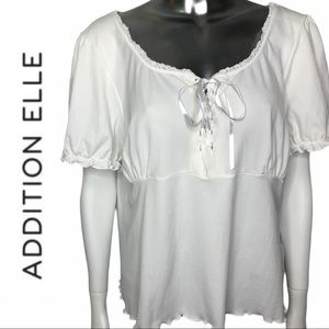 EUC A/E Sport Short Sleeve Lace Up Tie Front Tee